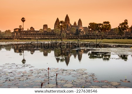 Angkor Wat was first a Hindu,then subsequently,a Buddhist temple complex in Cambodia and the largest religious monum. in the world.The temple was built by the Khmer King Suryavarman II in 12th century