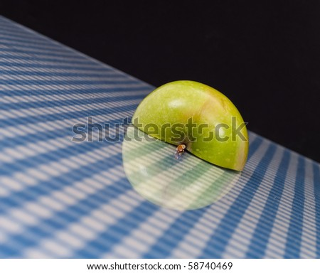 Angle Perspective of Green Apple Half with Reflection