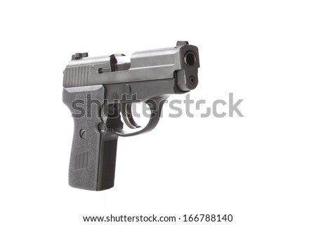 Angle view of a 40 caliber pistol. Shot against a white background.