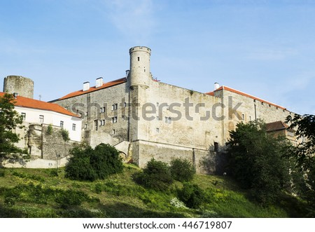 Angle view of the mightily towering Toompea Castle in Tallinn, Estonia