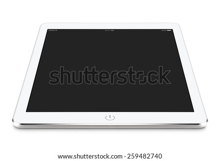 Angled front view of white tablet computer with blank screen mockup on the surface, isolated on white background. Whole image in focus. - stock photo