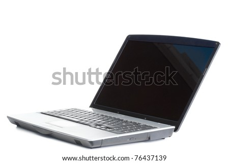 Angled laptop on a white background - stock photo