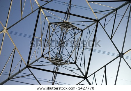 Angled Shapes of an Electrical Cable Tower