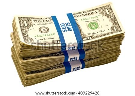 Angled shot of three stacks of money/ Angled shot keeps from being copied or duplicated/ Big Stacks Of Cash - stock photo