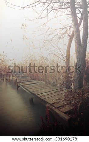 Angler pier at Lake Balaton in fog, Hungary