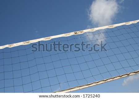Angles volleyball court net with clouds - stock photo