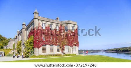 Anglesey, Wales. UK. 8th September, 2015. Tourists taking in the view at Plas Newydd Country House and Gardens. - stock photo