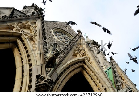 Anglican church in downtown Montreal, Canada - stock photo