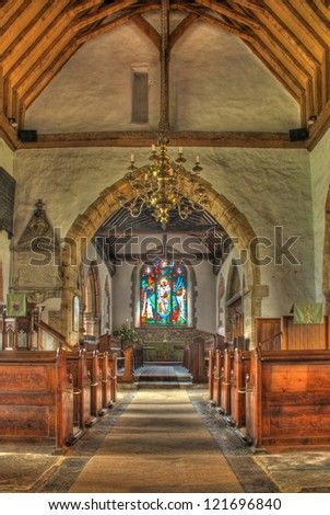 Anglican Church interior with stained glass window, Marden, Kent, England - stock photo