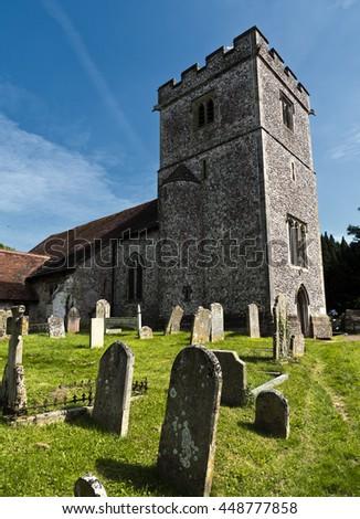 Anglican church; 13th Century rural English Parish Church  - stock photo