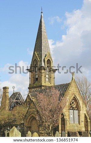 Anglican mortuary chapel, Philips Park Cemetery, Gorton, Manchester, UK - stock photo