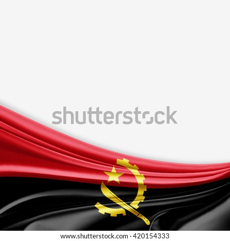 Angola flag of silk with copyspace for your text or images and white background