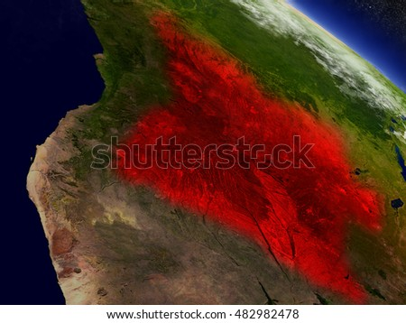 Angola highlighted in red as seen from Earth's orbit in space. 3D illustration with highly detailed planet surface. Elements of this image furnished by NASA.