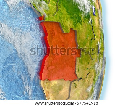 Angola in red on model of planet Earth. 3D illustration with highly detailed realistic planet surface and clouds. Elements of this image furnished by NASA.