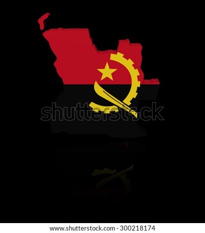 Angola map flag with reflection illustration - stock photo