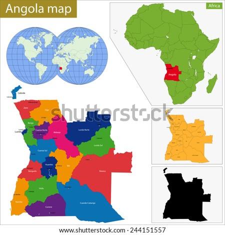 Angola Map Stock Images RoyaltyFree Images Vectors Shutterstock - Angola provinces map