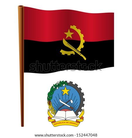 angola wavy flag and coat of arms against white background, art illustration - stock photo