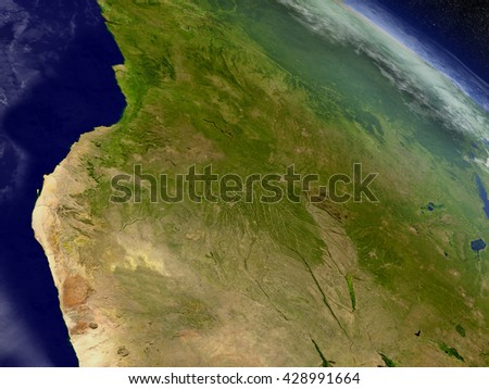 Angola with surrounding region as seen from Earth's orbit in space. 3D illustration with highly detailed planet surface and clouds in the atmosphere. Elements of this image furnished by NASA.