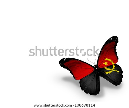 Angolan flag butterfly, isolated on white background - stock photo