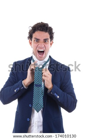 angry adult man in suit with expression tied tie - stock photo