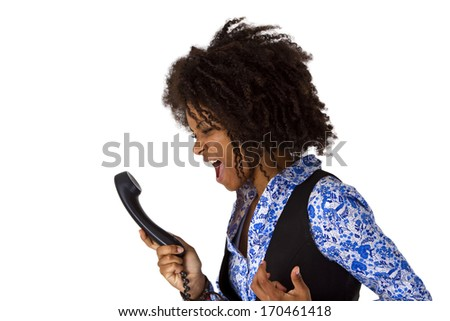Angry african american woman with phone - stock photo