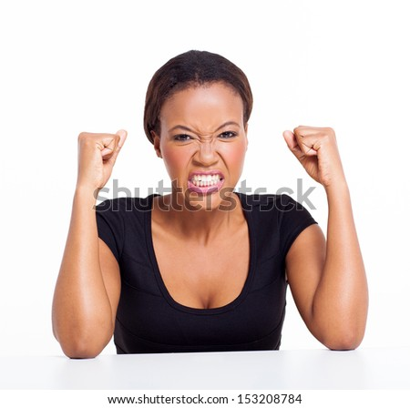 angry african woman isolated on white - stock photo