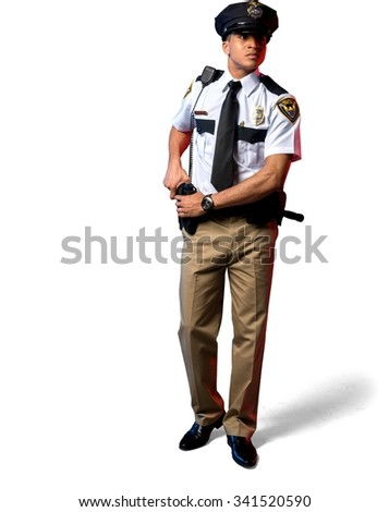 Angry African young man with short black hair in uniform holding handgun - Isolated - stock photo