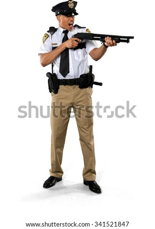 Angry African young man with short black hair in uniform using handgun - Isolated