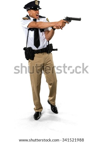 Angry African young man with short black hair in uniform using handgun - Isolated - stock photo