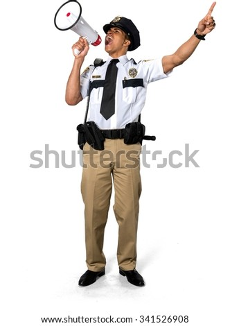 Angry African young man with short black hair in uniform using megaphone - Isolated