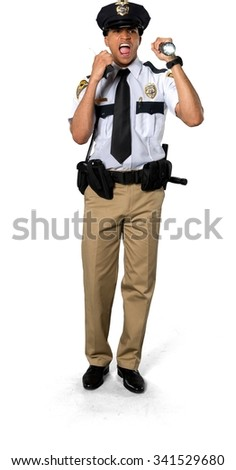 Angry African young man with short black hair in uniform using walkie-talkie - Isolated - stock photo