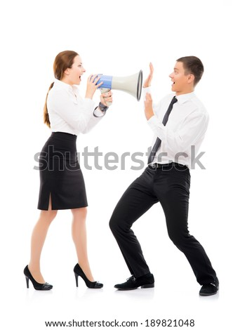 Angry and irritated business woman screaming on her employee. Feminism and emancipation concept. - stock photo