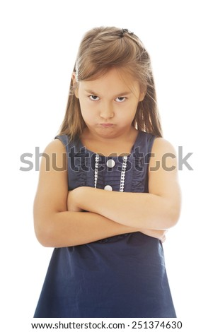 Angry and pride little girl - stock photo