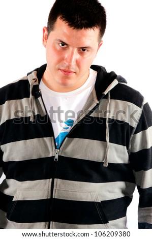 Angry and sweaty man - stock photo