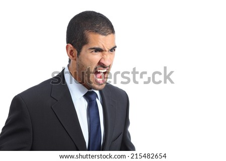 Angry arab business man shouting isolated on a white background - stock photo