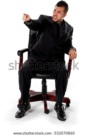 Angry Asian man with short black hair in business formal outfit pointing using finger - Isolated