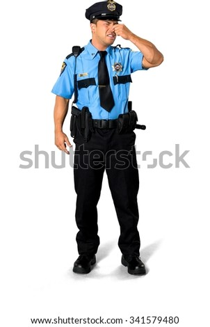 Angry Asian man with short black hair in uniform with hands on face - Isolated