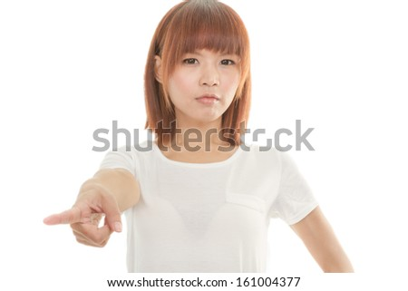 Angry Attractive Chinese woman pointing finger