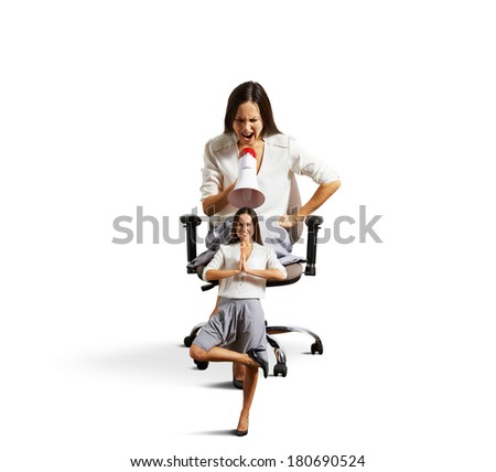 angry big businesswoman screaming at small yoga woman over white background - stock photo
