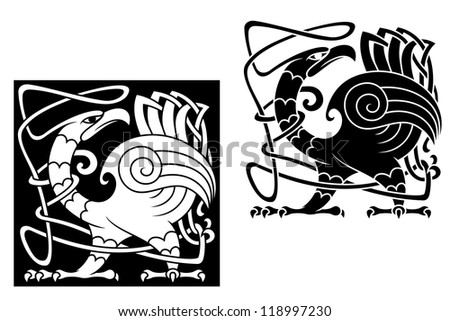 Angry bird in celtic style with ornamental patterns and tracery. Vector version also available in gallery - stock photo