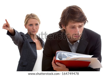 Angry boss and poor worker with heap of papers - stock photo