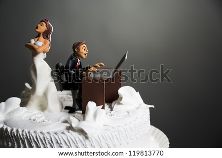 angry bride because her husband doesn't leave the computer alone. - stock photo