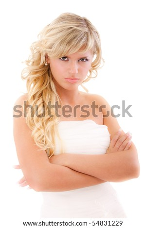 Angry bride in expectation of groom, isolated on white background.