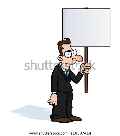 Angry business man holding an empty protest sign. - stock photo