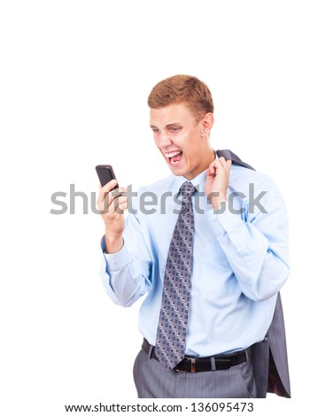 Angry business man screaming on cell mobile phone, portrait of young handsome businessman isolated over white background, concept of executive yelling, conversation problem communication crisis