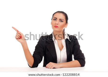 Angry business woman firing someone - stock photo