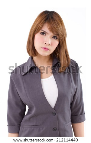 angry business woman looking at you, white isolated background - stock photo