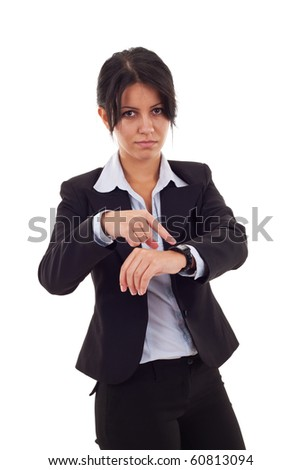 angry business woman pointing her watch over white