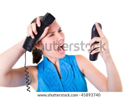 Angry business woman screaming into phones. - stock photo