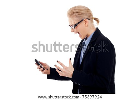 Angry business woman with mobile phone, screaming, isolated on white - stock photo